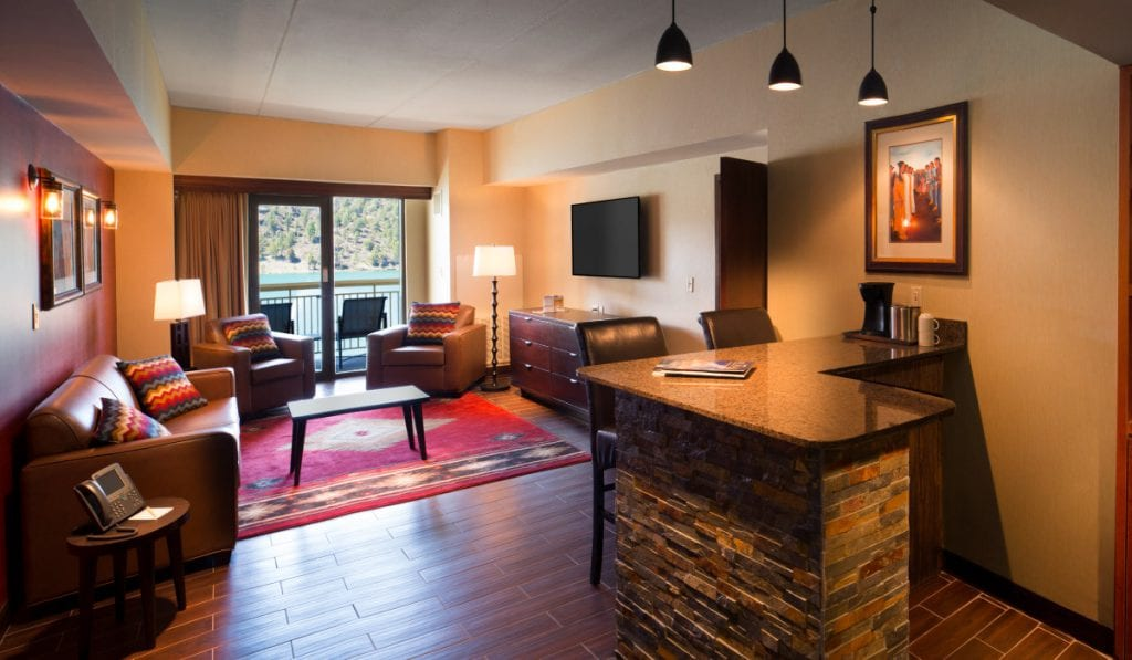 grand suite living area and bar