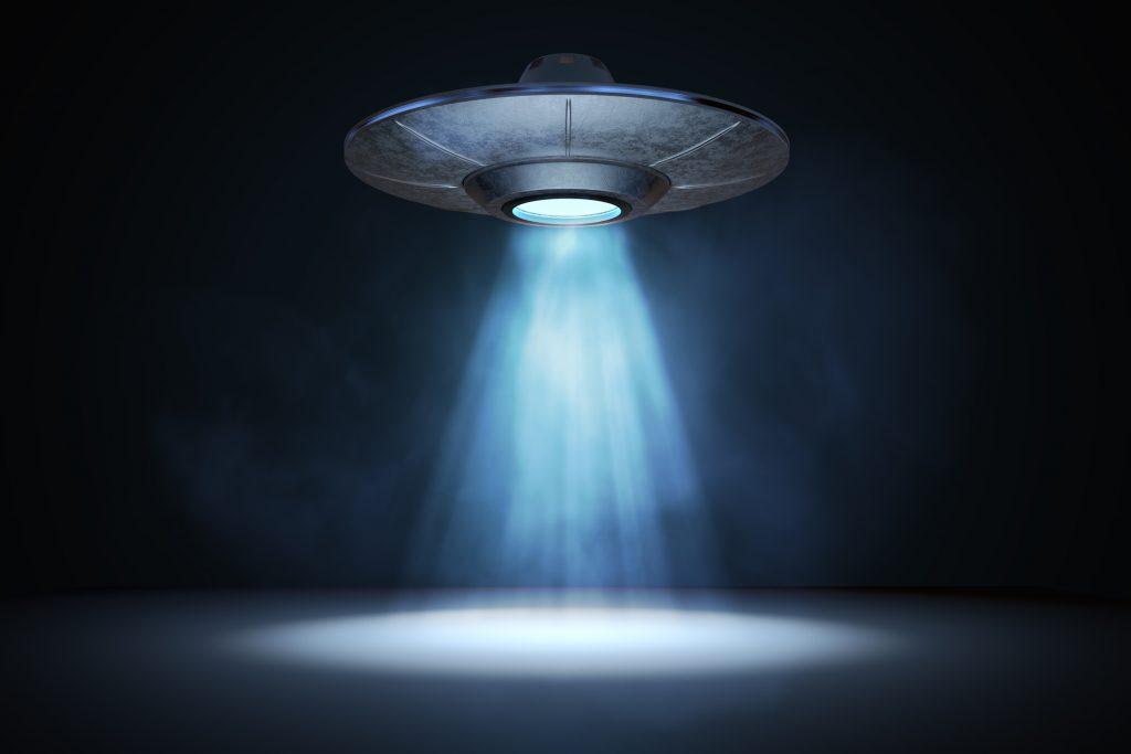 Light beam from flying UFO