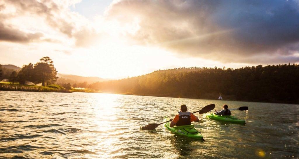 couple kayaking Lake Mescalero